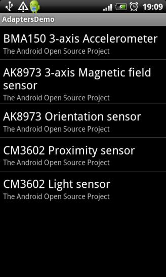 Список сенсоров в SimpleAdapter